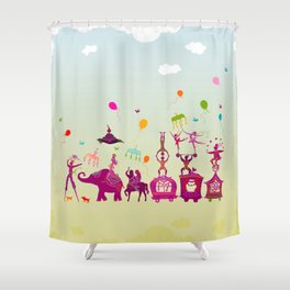 colorful circus carnival traveling in one row during daylight Shower Curtain