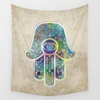 hamsa Wall Tapestries featuring Hamsa by Klara Acel