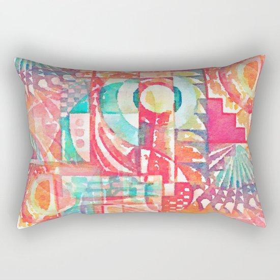 Sunshine Geometry in Watercolor Rectangular Pillow
