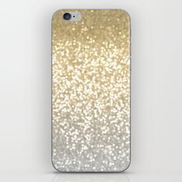 Gold and Silver Glitter Ombre iPhone Skin