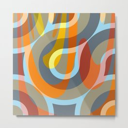 Nouveau Retro Graphic Brown Orange and Blue Metal Print