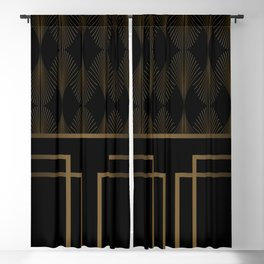 Art Deco Gold/Black Pattern Blackout Curtain