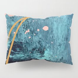 Poseidon: a bright, minimal abstract in blues, pink, orange, and white Pillow Sham