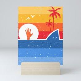 Retro minimalist attack shark Mini Art Print