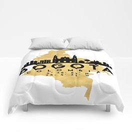 BOGOTA COLOMBIA SILHOUETTE SKYLINE MAP ART Comforters