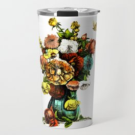 Vintage Bouquet in Vase Design Travel Mug