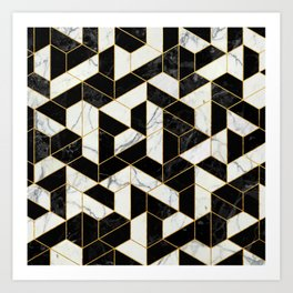 Black and White Marble Hexagonal Pattern Art Print
