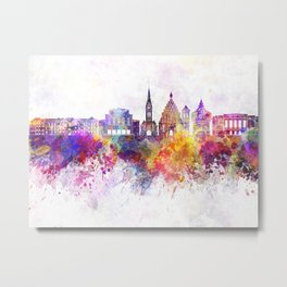 Bydgoszcz skyline in watercolor background Metal Print