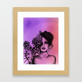 Sunset Succulent Babe | Sunset | Succulents | Cacti | Cactus | Succulent | Portrait | Pink | Orange Framed Art Print