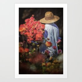 Picking the Flowers Art Print