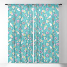 Sweet Treats Pool Floats Pattern – Turquoise Sheer Curtain