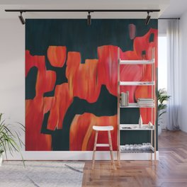 Tulip field, original abstract painting Wall Mural