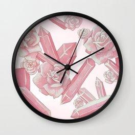 Rose Quartz & Rose Crested Cockatoo (pink) Wall Clock