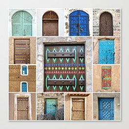 Saudi Doors Square Collage Canvas Print