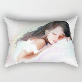 Adorable little girl sleep in the bed  Rectangular Pillow
