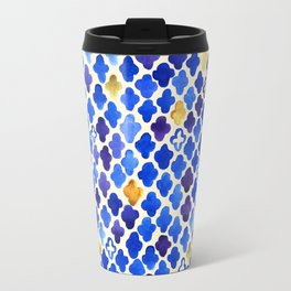 Rustic Watercolor Moroccan in Royal Blue & Gold Travel Mug