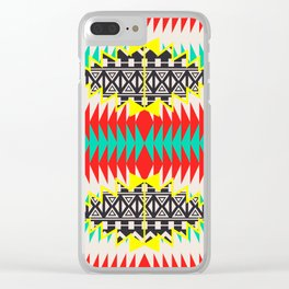 Tribal Beat Geo Neon Clear iPhone Case