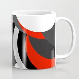 black white grey red geometric digital art Coffee Mug