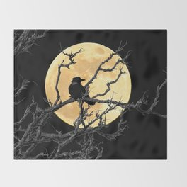 Crow Against Full Moon A366 Throw Blanket