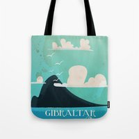 travel poster Tote Bags featuring Gibraltar vintage Travel poster by Nick's Emporium