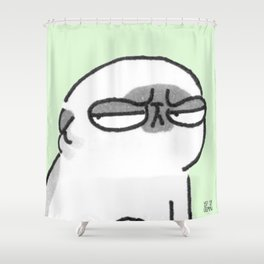 Mochi the pug giving the stink eye Shower Curtain