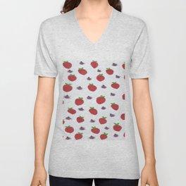 Strawberries and Ladybugs Unisex V-Neck