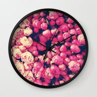 peonies Wall Clocks featuring Peonies by Sasha H
