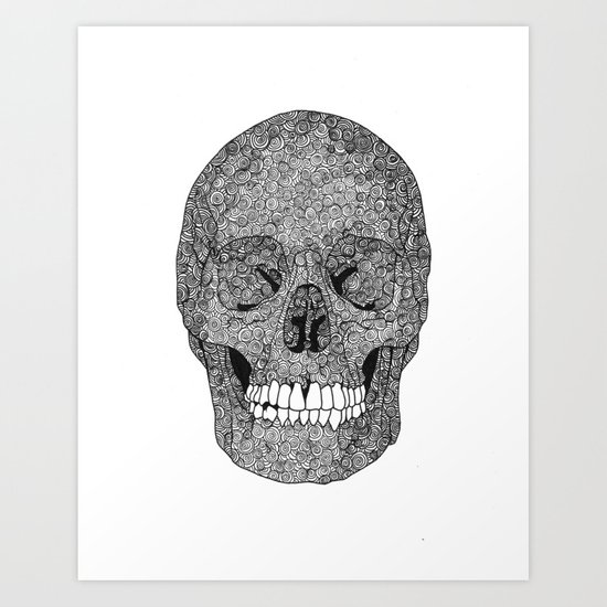 Skull and Spirals - WHITE Art Print