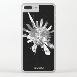 Dubai, United Arab Emirates Black and White Skyround / Skyline Watercolor Painting (Inverted Version Clear iPhone Case