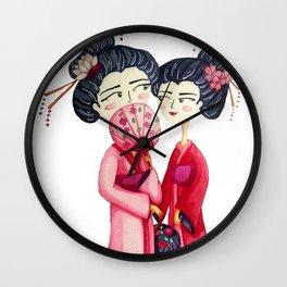 Pink Geishas Wall Clock
