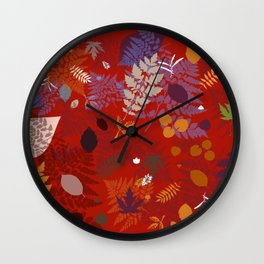 Autumn leafs red Wall Clock