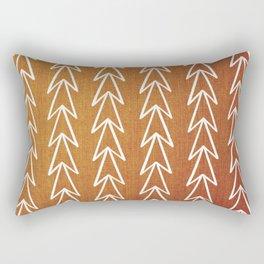 Mudcloth White Geometric Shapes in Burnt Orange-ARROWS 5 Rectangular Pillow
