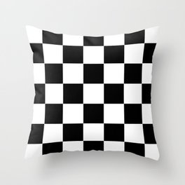 Traditional Black And White Chequered Start Flag Throw Pillow