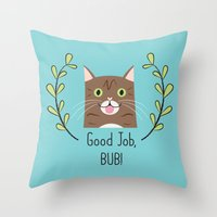 lil bub Throw Pillows featuring Lil Bub by Madeline Audrey