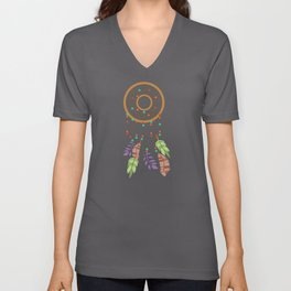 Dream Catcher Brown Feathers Colorful Unisex V-Neck