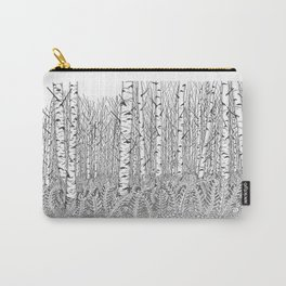 Birch Trees Black and White Illustration Carry-All Pouch