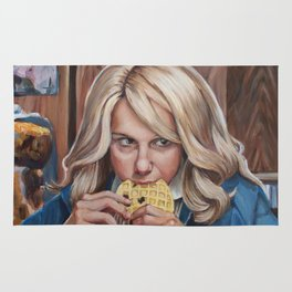 Eleven eats an Eggo - Stranger Painting Things Rug