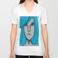 no face V-neck T-shirts featuring Face by LCMedia