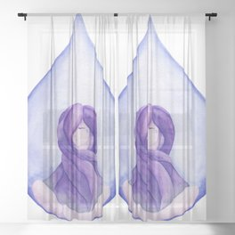 Tear Drop-Violet Sheer Curtain
