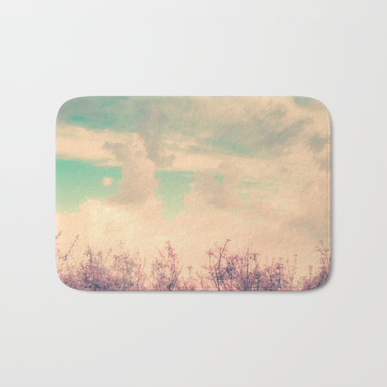 Spring Daydream (Dusty Pink Flowers, Mint Green Sky) Bath Mat