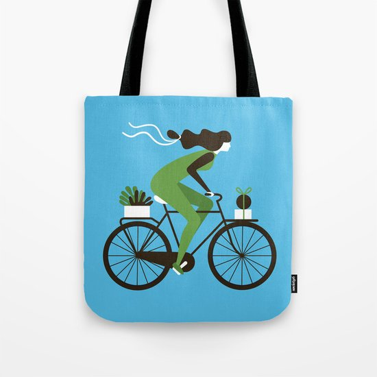 Woman on a Bicycle Tote Bag