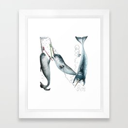 N is for Narwhals! The Laugh-A-Bit Alphabet animal letter N - ABCs by BirdsFlyOver Framed Art Print