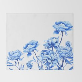 blue peonies 2 Throw Blanket