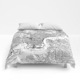 Philadelphia White Map Comforters