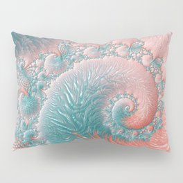 Abstract Coral Reef Living Coral Pastel Teal Blue Texture Spiral Swirl Pattern Fractal Fine Art Pillow Sham