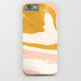 Abstract Blush Pink and Gold Marble iPhone Case