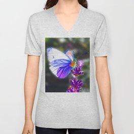 Butterfly on the Lavender Unisex V-Neck