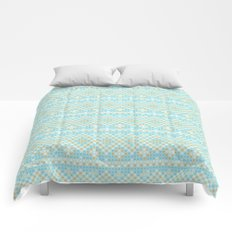 Vintage orange teal stylish cross stitch pattern Comforters