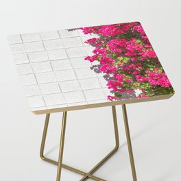 Bougainvilleas and White Brick Wall in Palm Springs, California Side Table