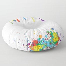 Paint Watercolor Splatter Floor Pillow